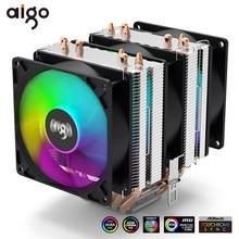 Aigo – refroidisseur de PC Intel LGA 1366 775 1200 1150 1151 AMD AM3 AM4 90mm, 6 tuyaux de chaleur 4 broches PWM RGB, ventilateur de refroidissement CPU