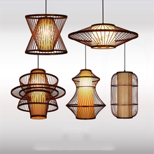China Vintage Wooden Led Pendant Lights Lighting Loft Home Interior Decoration Bamboo Lamp Luminaire Hanging