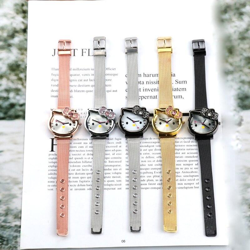2020 новый милый мультфильм KT кошка дети% 27 часы кожа ремешок дети часы сетка ремень золото часы для детей многоцветный наручные часы