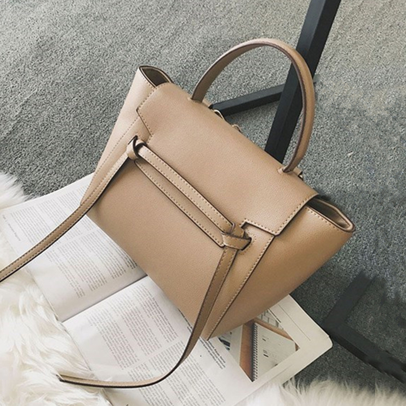 Burminsa Chic Trapeze Design Women Handbags High Quality Belt Female Shoulder Bags Luxury PU Leather Crossbody Bags Autumn 2019