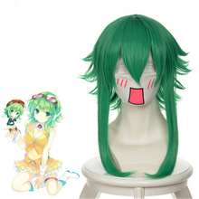 цена на Anime Vocaloid Gumi Megpoid Role Play GUMI Costume Cosplay Wig Short Curly Green Synthetic Hair Halloween Party Wigs+Wig Cap
