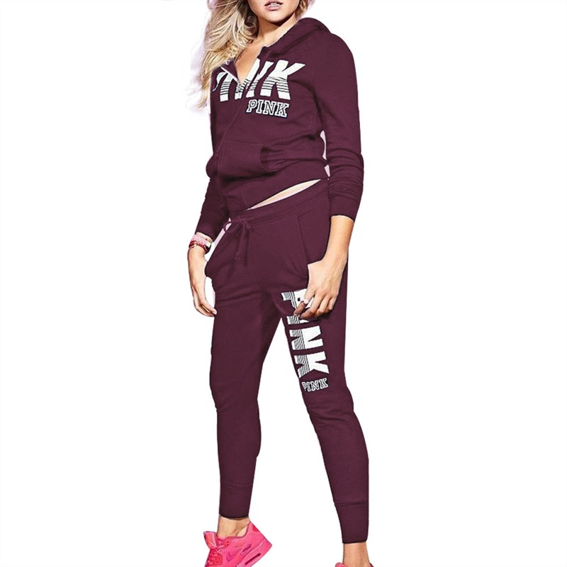 Women Autumn 2 Piece Set Women Hot Letters Print Zipper Sweatshirt+PantSuit Tracksuit Long Sleeve Sportswear Outfit
