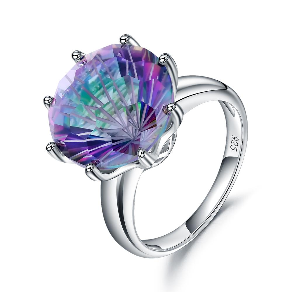 GEM'S BALLET Classic Round Colorful Rings Natural Rainbow Mystic Quartz Ring 925 Sterling Silver Fine Jewelry For Women Wedding