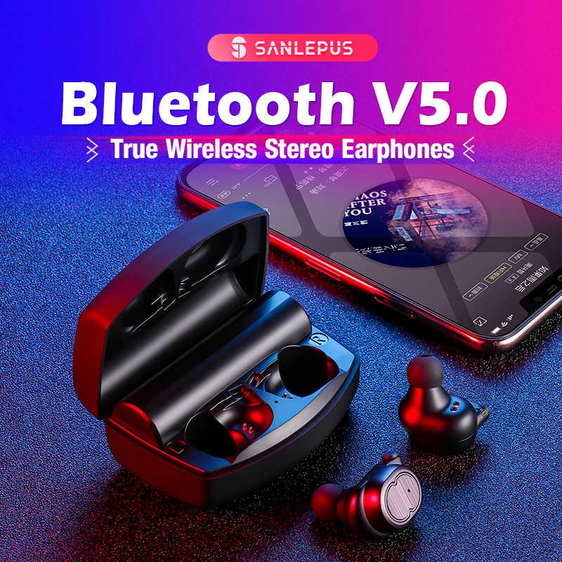 SANLEPUS ミニデュアル V5.0 Bluetooth イヤホン 3D ステレオサウンドとデュアルマイクと充電ボックス