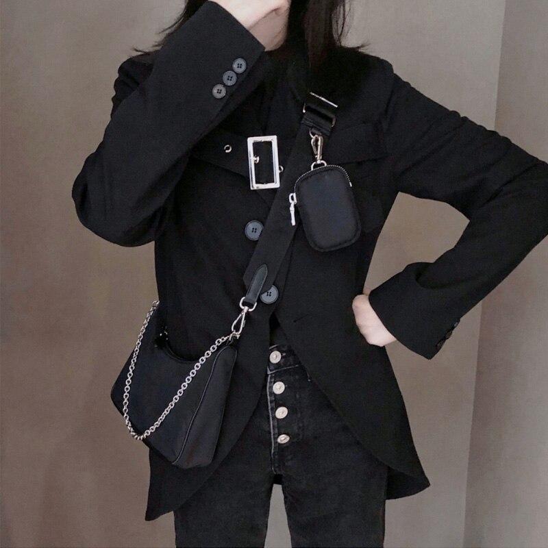 2pcs Set Nylon Shoulder Bag Women Solid Color Handbags Mini  Travel Crossbody Tote Waterproof Design Casual Ladies Clutch Purse
