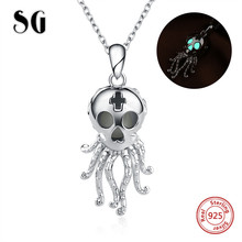 SG Vintage Octopus Pendant Necklace 925 sterling silver with glowing Skull chain necklace fashion jewelry making for women gifts