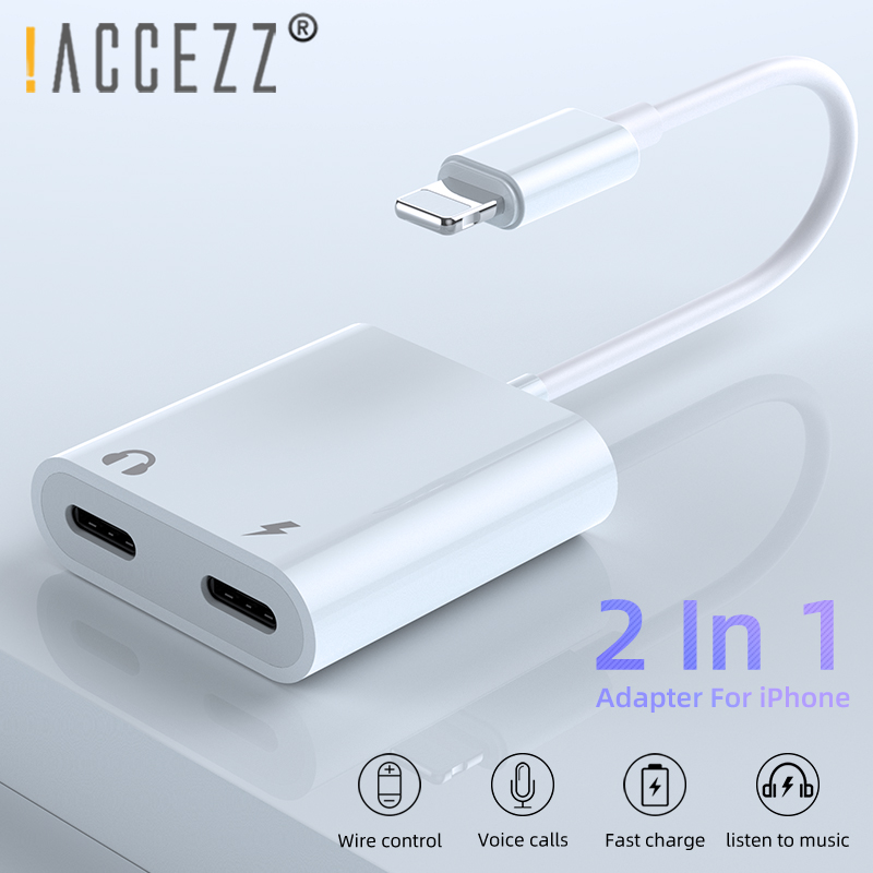 !ACCEZZ Phone Adapter For IPhone XS MAX XR X 7 8 Plus 3.5mm Jack Dual Lighting Earphone Audio Adapter 2 In 1 Aux Cable Splitter