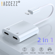 !ACCEZZ Phone Adapter For iPhone XS MAX XR X 7 8 Plus 3.5mm Jack Dual Lighting Earphone Audio Adapter 2 in 1 Aux Cable Splitter 3 in 1 for lightning to 3 5mm audio jack adapter dual for lightning aux earphone jack conveter for iphone x 8 plus 8 7 ios 9 12