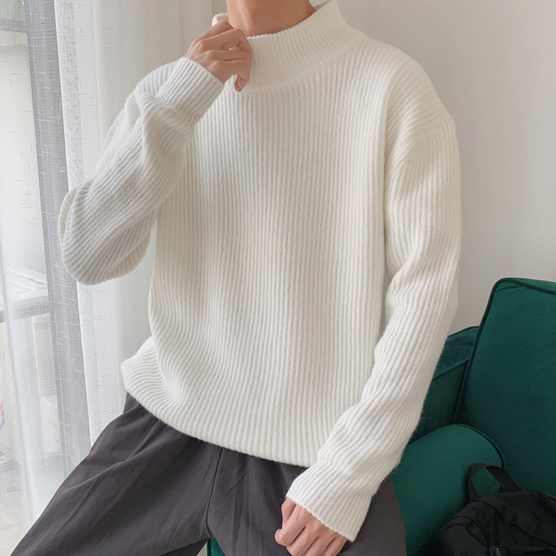 2019 Winter Men's Nine Color In Warm Coats Cashmere Knitting Casual Woolen Pullover Brand Clothes Half High Collar Sweater M-3XL
