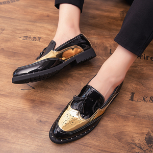 Image 5 - Men Loafers Business tassel Wedding Brand Men Shoes outdoor slip on Breathable Banquet Gold Black Male Shoes Chaussure Homme a4