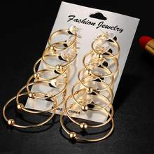 6 Paren/set Oversize Gold Kleur Big Circle Hoop Oorbellen Set Voor Vrouwen Vintage Steampunk Oor Clip Wedding Party Sieraden Gif(China)