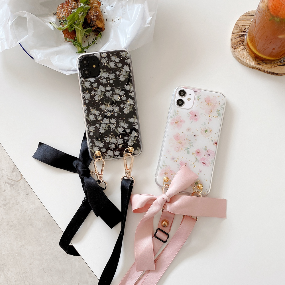 Fashion Cross Shoulder Strap Glitter Marble TPU Case For iPhone 11 Pro Max XS Max XR X 7 8 6 6S Plus Bow Necklace Soft Cover 4