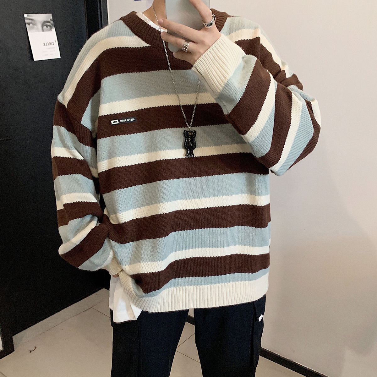 2019 Winter Men's In Warm Coats Casual Cashmere Pullover Stripe Knitting Woolen Sweater V-neck Sleeve Single Man Knit Size M-2XL