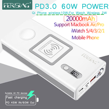 FERISING For iWatch Macbook Wireless PD3.0 60W Fast Charger Power Bank 20000mAh for Apple Watch 5/4/3/2 iPhone External Battery