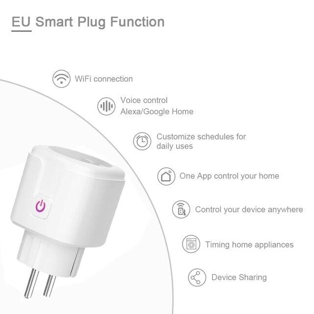 16A Tuya WIFI Plug Smart life Socket Outlet UK EU AU Brazil FR Israel IT Plug APP Remote Control Work For Alexa Google Assistant 3