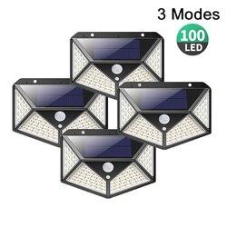 100 led solar luz 3 modos ao ar livre à prova dwaterproof água pir sensor de movimento parede alimentado luz solar lâmpada jardim decoração grande angular luz