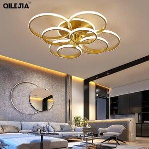 Image 4 - Современная Люстра для гостиной, спальни, AC85 265V, акриловая, алюминиевая, золотистая/белая/кофейная рамка, потолочные светильники
