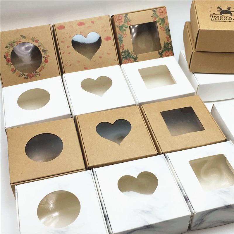 Packaging-Box Cake Gift Candy Handmade Brown Window Crafts Wedding 24pcs PVC Christmas