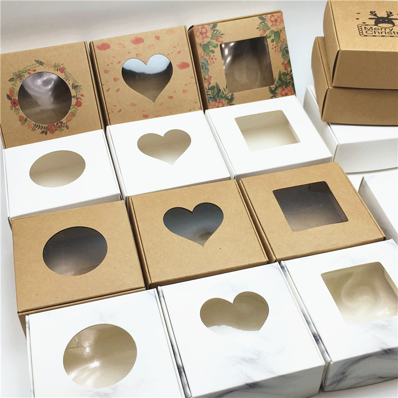 24 Pcs PVC Window Christmas Candy Brown Gift Packaging  Box For Wedding\Candy\Crafts\Cake\Handmade Soap Packing Gift Boxes