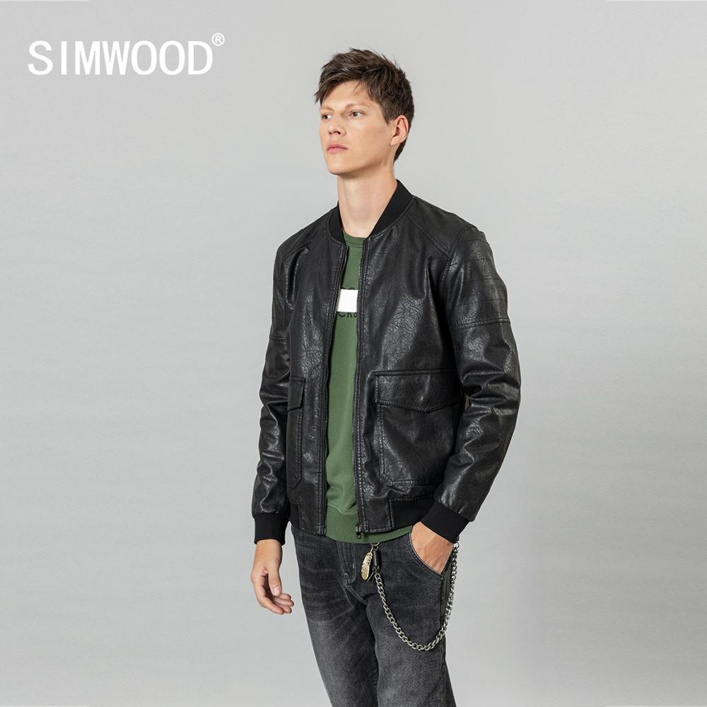 SIMWOOD 2020 Spring Winter New PU Leather Bomber Jacket High Quality Multi Pocket Cargo Biker Jackets Fashion Outerwear SI980570
