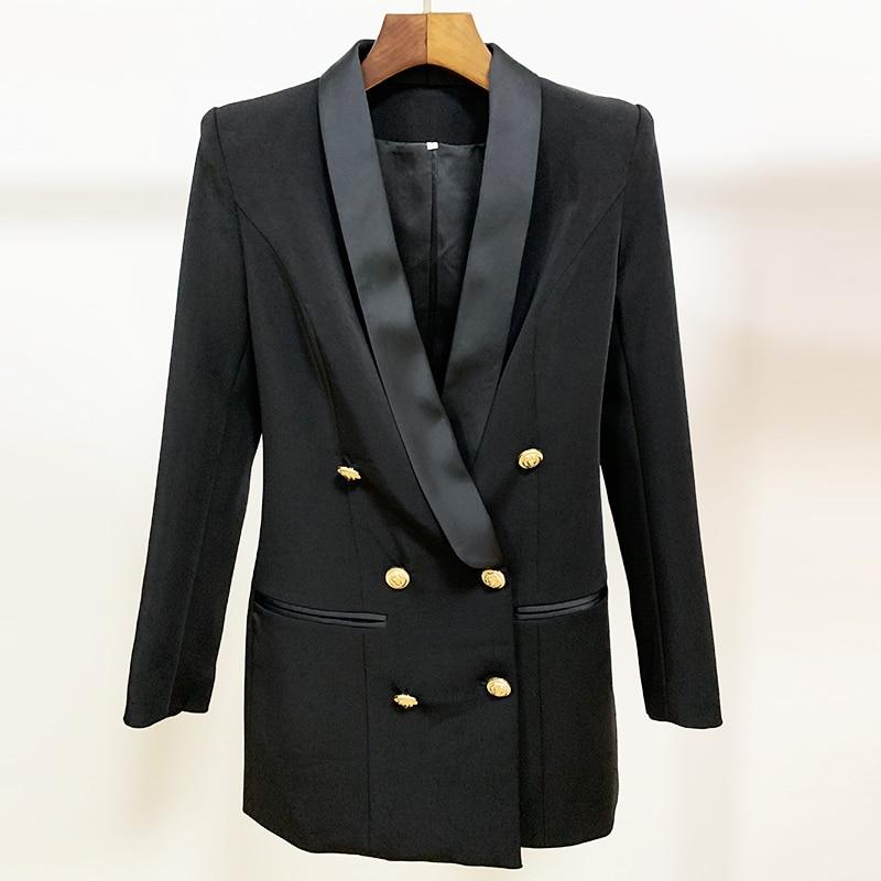 Image 4 - HIGH QUALITY Newest 2020 Stylish Designer Blazer Womens Metal  Lion Buttons Shawl Collar Long Blazer JacketBlazers