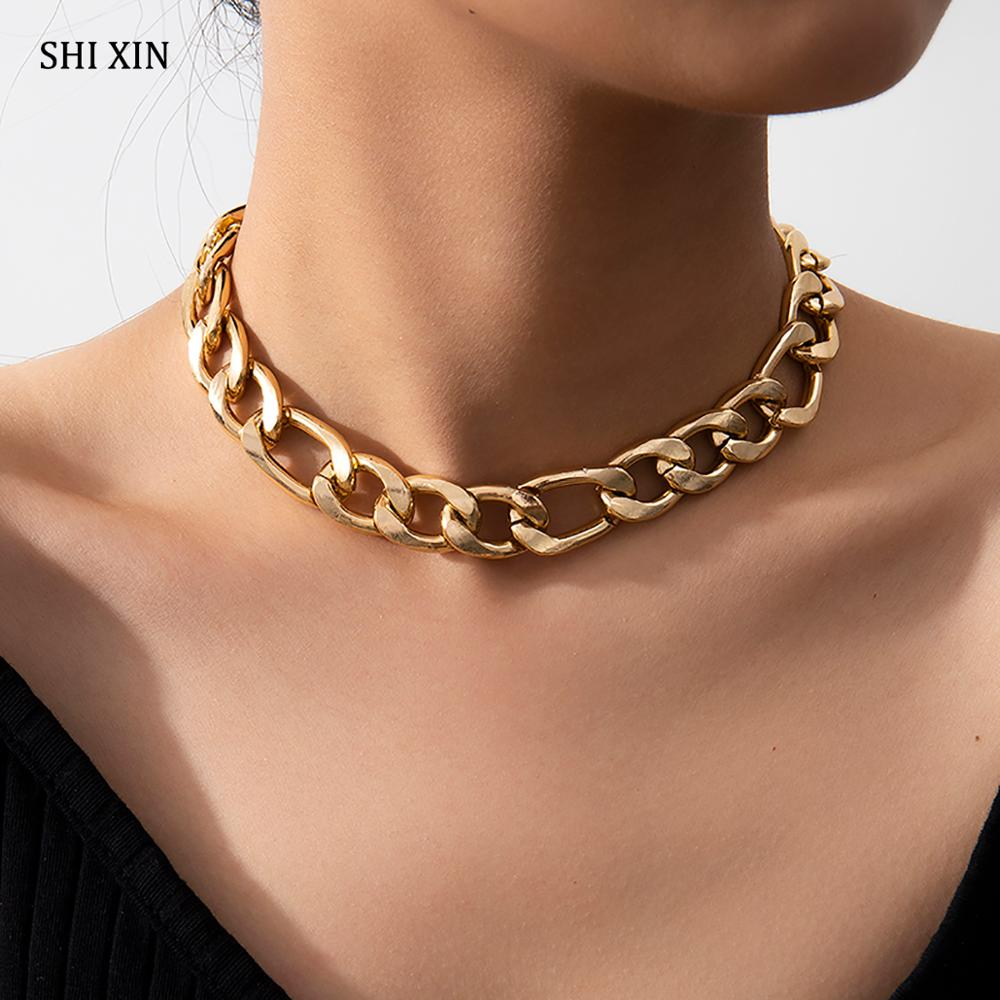 SHIXIN Hip Hop Short Thick Chain Necklace for Women/Men Punk Chunky Choker Colar Necklace 2020 Statement Fashion Neck Chain Gift(China)