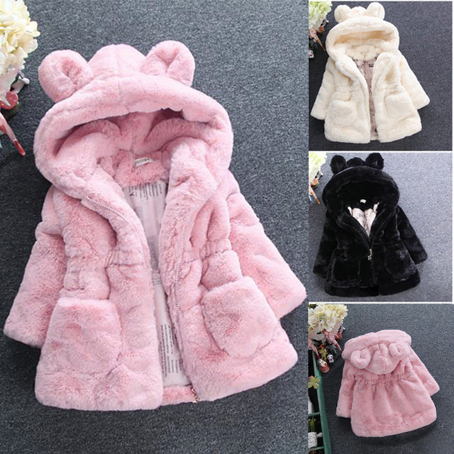 2018 New Winter Baby Girls Clothes Faux Fur Coat Fleece Show Jacket Warm Snowsuit 1-7Y Baby Hooded Jacket Children's Outerwear