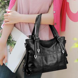Image 4 - Ladies Retro Large Handbags Fashion PU Leather Shoulder Bag Female Large Tote Handbag Ladies Solid Color Luxury Tote Sac A Main