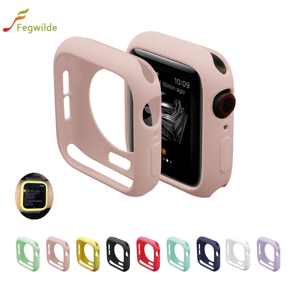 Case For Apple Watch Band 44mm 40mm Soft Silicone Case Iwatch5 4 3 Band 42mm 38mm Cover Shatter-Resistant All-Around Cover Shell