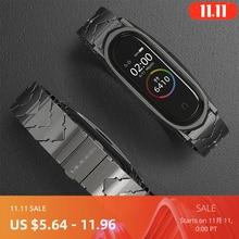 Mi Band 5 حزام ل شاومي الفرقة 4 3 NFC حزام سوار معدني الفولاذ المقاوم للصدأ النسخة العالمية متوافق الأساور Correa