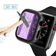 Cristal + cubierta para carcasa de reloj Apple iWatch, parachoques de fibra de carbono + Protector de pantalla Apple watch series 5 4 3 44mm 40MM 38mm 42MM