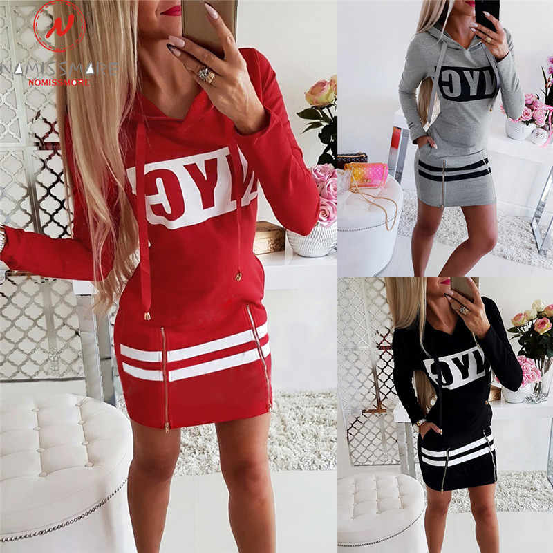 Women Casual Dress Patchwork Design Hooded Zipper Decor O-Neck Long Sleeve Letter Print Dress Fashion Lady Autumn Mini Dress