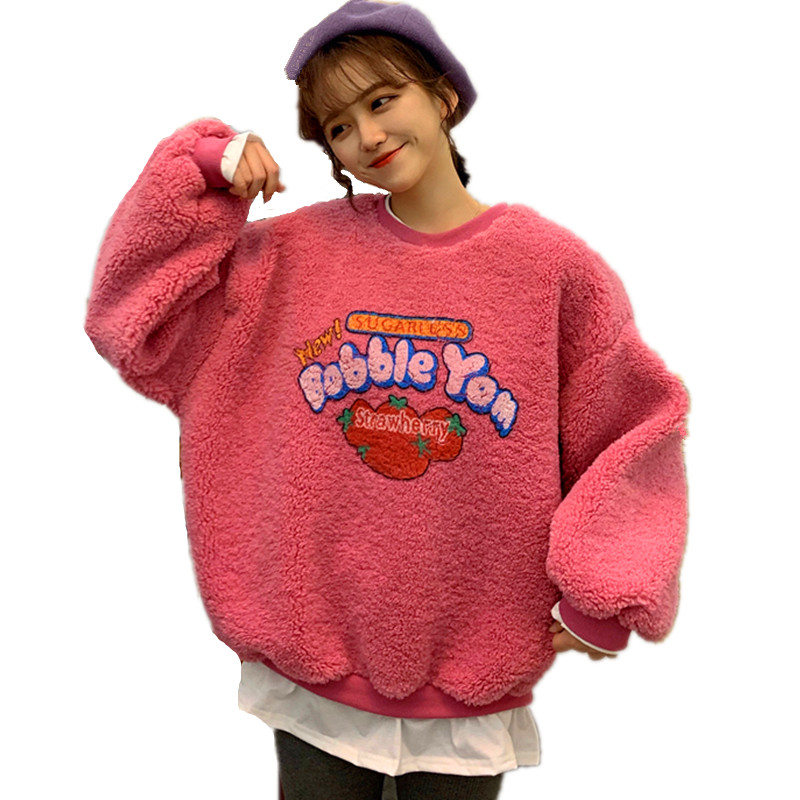 Women Fake 2 Pieces Warm Sweatshirt Fall Winter Long Sleeve Fleece Hoodie Strawberry Print Fuzzy Hoody Pullover Kawaii Top S-2XL