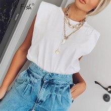 Fashion Cotton White Shirts Sleeveless Women's T-Shirt Camis