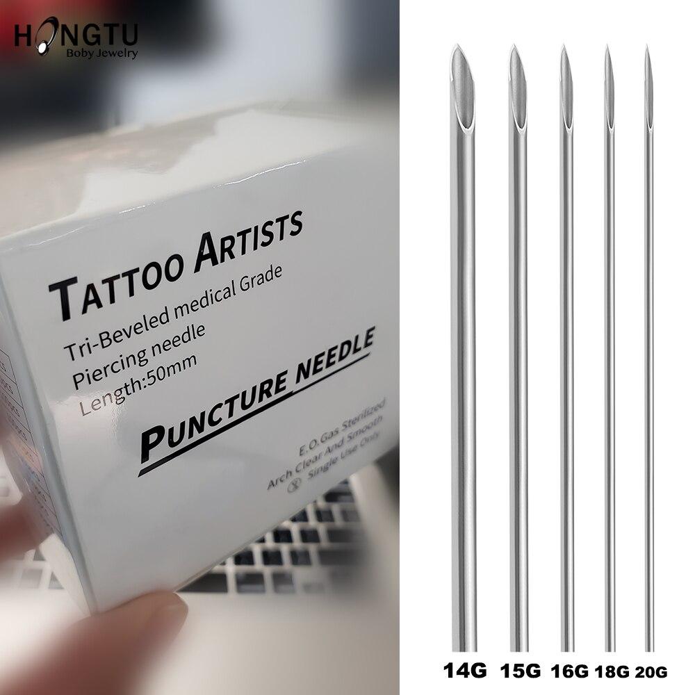 Agulha piercing de agulha de aço 5 pçs/lote, ferramenta estéril para tatuagem, nariz, lábio, orelha, 14g, 16g, 18g 20g jóias do corpo pieacing