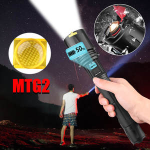 MTG2 LED Flashlight Torch Rechargeable Lamp Ultra Bright Flashlight LCD Design Zoomable  Lantern 3000lm With LCD Screen