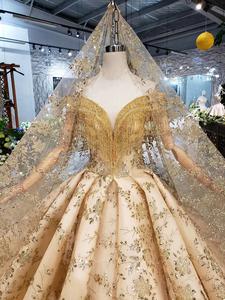 Image 5 - BGW HT42826 الذهبي الدانتيل فستان الزفاف مع طرحة زفاف الخامس الرقبة الكريستال شرابة الأميرة فساتين زفاف لفتاة Vestidos دي نوفيا