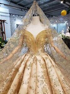 Image 5 - Bgw HT42826 ゴールデンレースウェディングドレスベール v ネッククリスタルタッセル王女の花嫁のドレス vestidos デ · ノビア