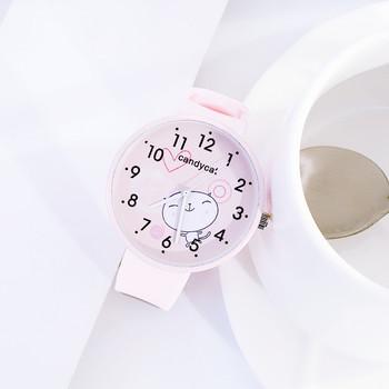 Dziewczyny chłopcy śliczne koci wzór dzieci oglądaj kobiety prosty zegarek kwarcowy na co dzień moda damska zegarki na rękę zegarki dla dzieci najlepszy prezent tanie i dobre opinie bez wodoodporności simple QUARTZ STOP Klamra z haczykiem Szkło 19cm bez opakowania 36mm Silikon HLL592 ROUND 16mm Brak