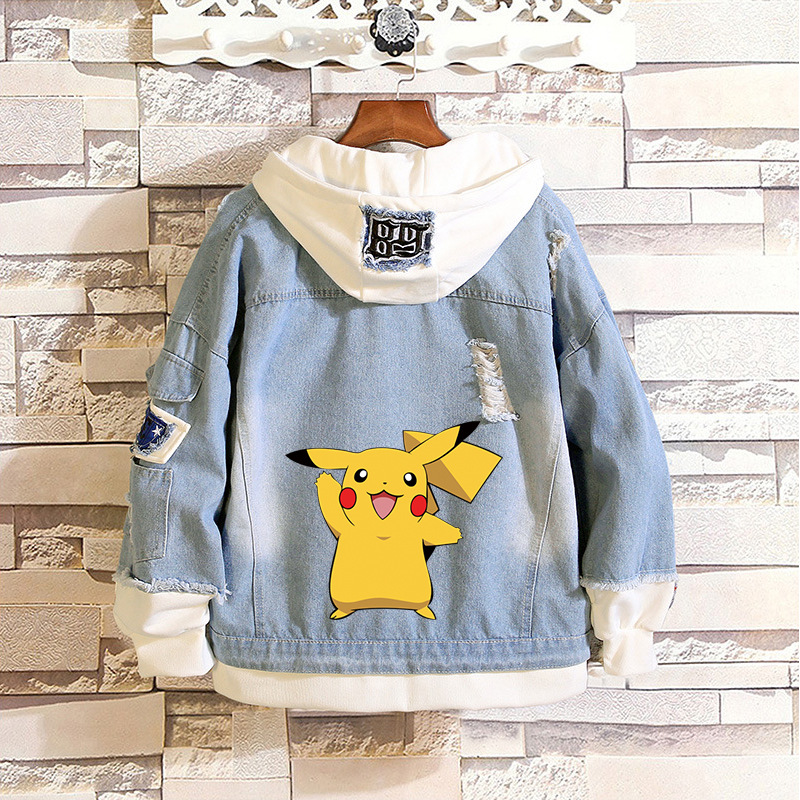 Pikachu Cartoon Denim Jacket Autumn Women Hoodies Sweatshirts Harajuku Fashion Kawaii Tops Cartoon Pokemon Couples Costumes