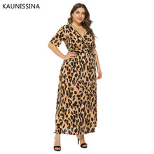 KAUNISSINA Plus Size Evening Gown Floral Print Party Dress Short Sleeve V-neck Elegant Formal Prom Dress Real Photo цена 2017