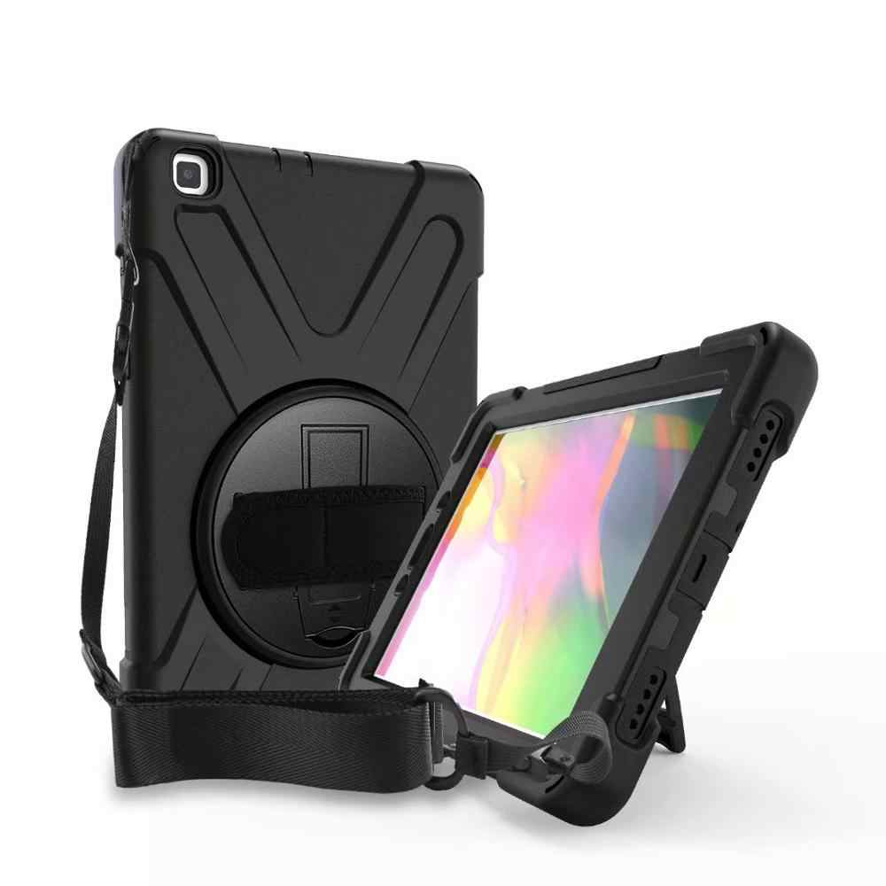 360 Degre Case For Samsung Galaxy Tab A 8.0 2019 T290 T295 SM-T290 T297 Tablet Kids Silicone Hard Cover +Neck Strap & Hand Strap
