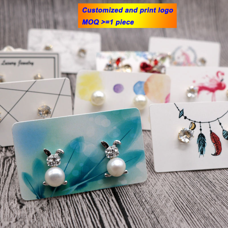 Jewelry Display 3*5 Card 100Pcs Jewelry Display Card Earrings Ear Studs Packing Hang Tag Rectangle Holder Customized Logo
