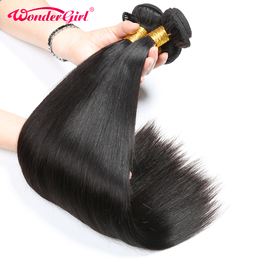 Straight Hair Bundles 3Pcs Brazilian Hair Weave Bundles Wonder Girl Brazilian Human Hair Bundles Remy Hair Extensions