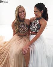 Vestido דה Formatura לבן שמלות נשף רקמת פרחי שיפון הלטר צוואר אונליין שתי חתיכה נשף שמלת צד פורמלי שמלות