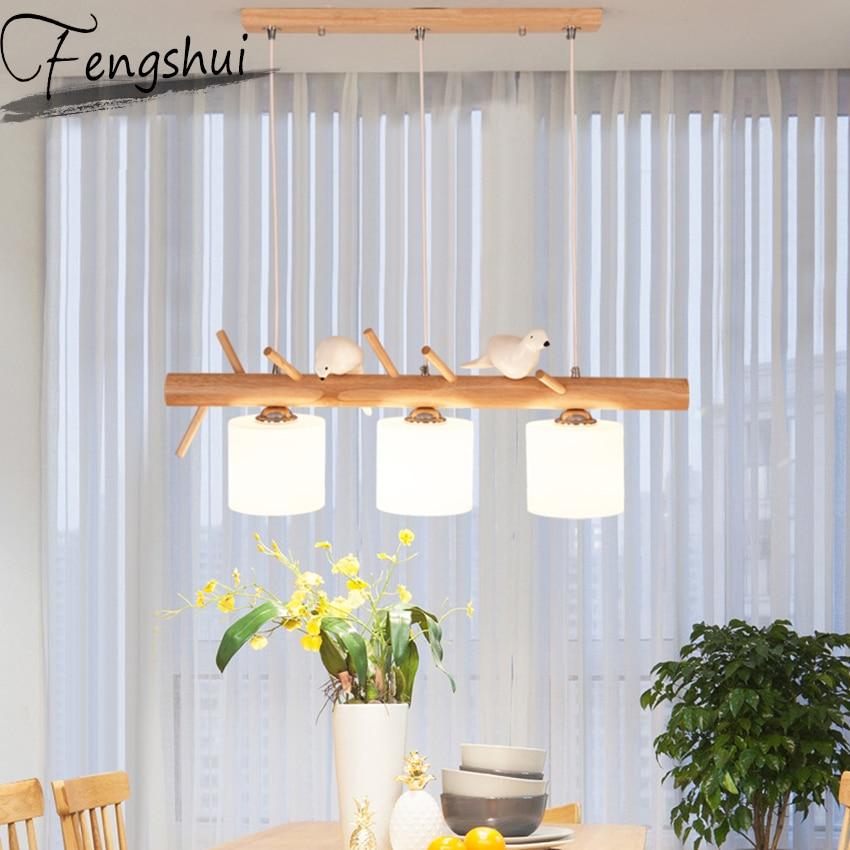 Modern Resin Bird Wood Lamp Light Pendant Dining Room Decoration Pendant Lamp Kitchen Fixtures Hanging Lamp Lighting Luminaire