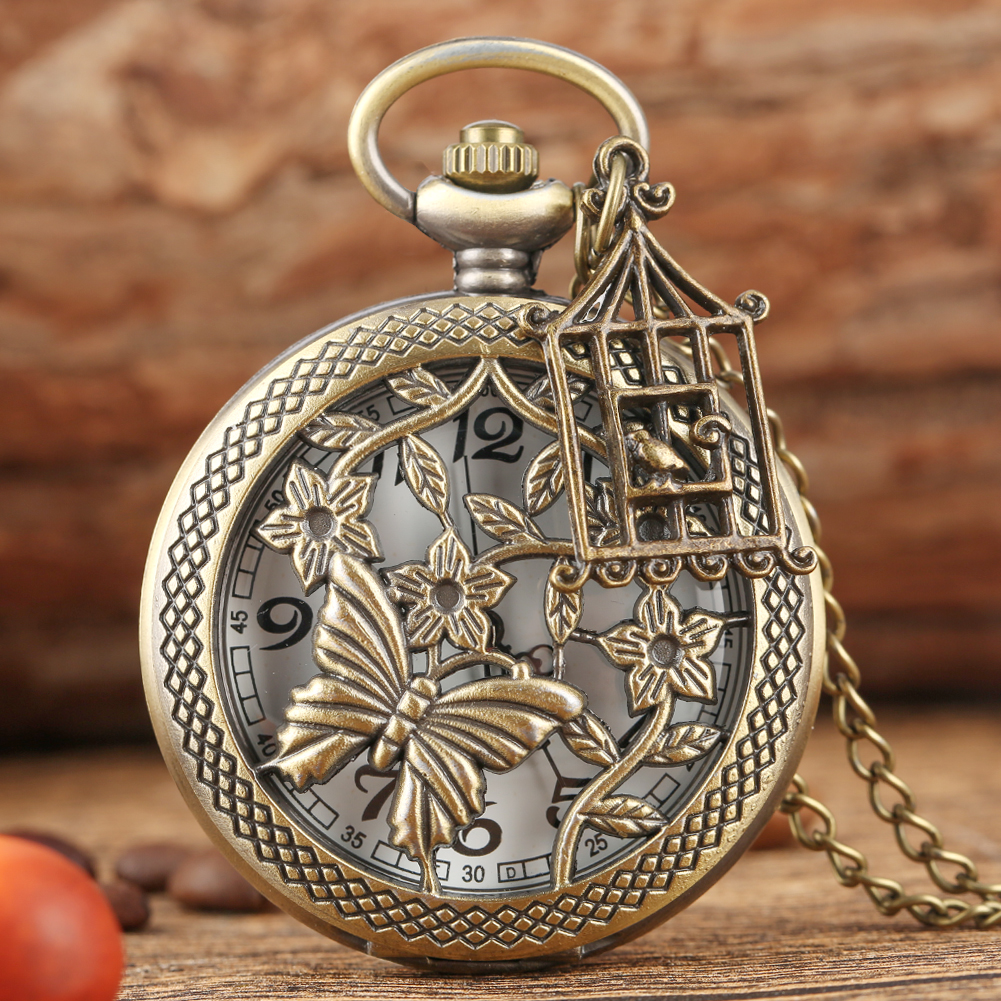 Butterfly And Flower Retro Bronze Necklace Pocket Watch Chain Steampunk Old Fashioned Pendant Quartz Fob Watch Clock + Accessory
