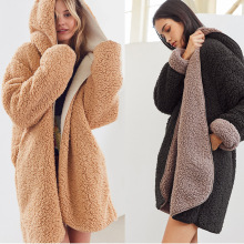Diwish 2019 New Winter Coat Faux Fur Plush Coats Jacket Women Warm Solid Plus-size Cardigan Hooded Teddy Double-sided Wear