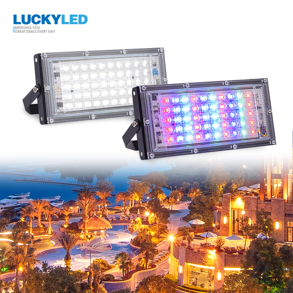 LUCKYLED Led Floodlight Outdoor Waterproof IP65 Led Reflector 50w AC 220v 240v Led Spotlight Street Lamp Garden Led Flood Light