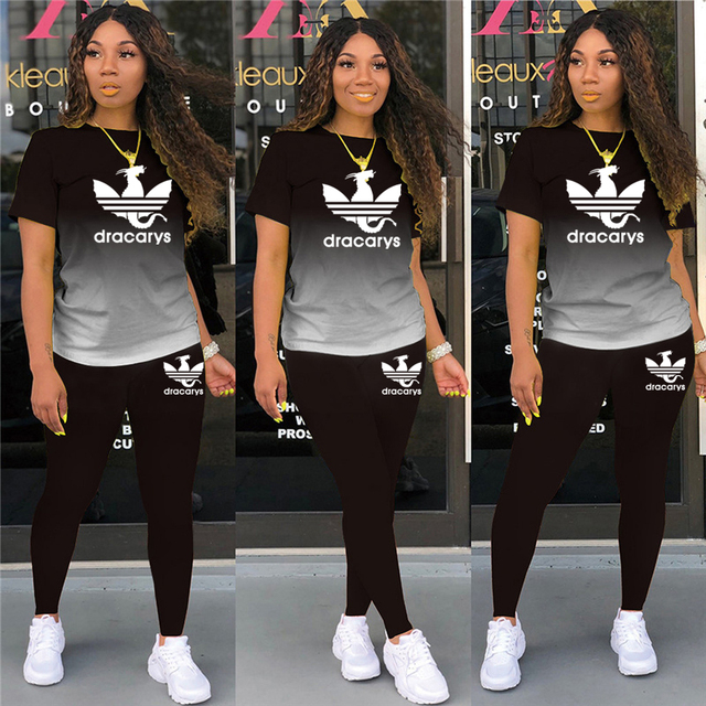 Tracksuits Women 2 Pieces Sets short Sleeve O-Neck Pullover Top Trousers Sportswear Sports Suit Female Clothes Spring 2021 New 1